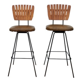 1950s Vintage Arthur Umanoff Wood Slat & Vinyl Swivel Bar Stools- a Pair For Sale