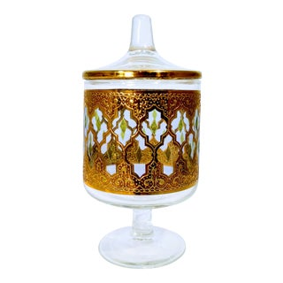 Culver Valencia Gold Glass Candy Dish For Sale