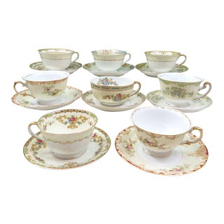 Vintage Mismatched Fine China Tea Cups & Saucers - Service for 8
