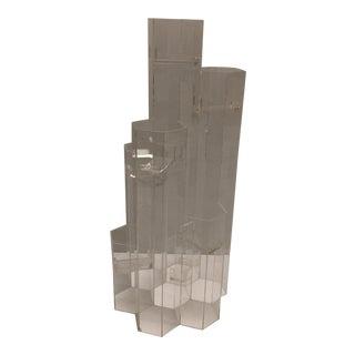 Mid Century Van Horn Hayward Lucite Skyscraper Sculptural Candleholder For Sale