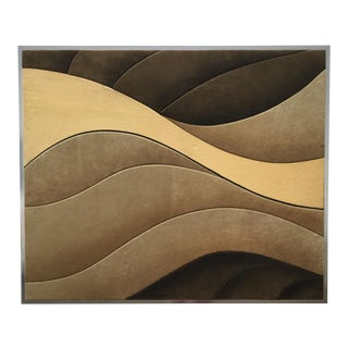 Vintage Mid-Century Modern Framed Suede Art For Sale