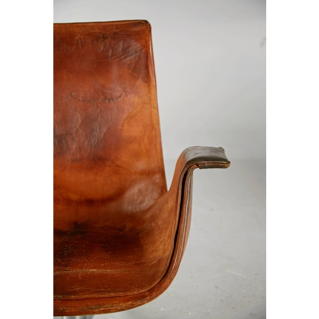 Distressed Leather Bird Chair by Preben Fabricius & Jørgen Kastholm for Alfred Kill For Sale In Los Angeles - Image 6 of 10