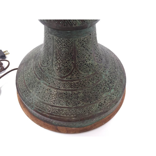 Antique 19th Century Middle Eastern Persian Oriental Brass Floor Lamp For Sale - Image 4 of 13