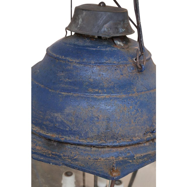 Blue Large Late 19th Century Blue-Painted Lantern For Sale - Image 8 of 11