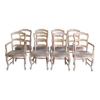 Country French Ladderback Dining Chairs - Set of 8 For Sale