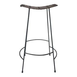 Arthur Umanoff Mid-Century Woven Seat Stool For Sale