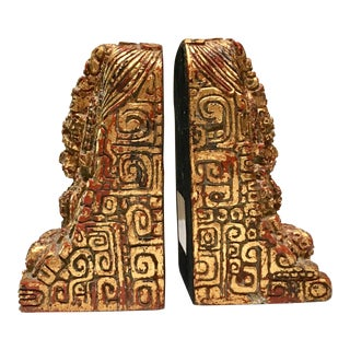 Vintage Zarebski Gilt Mayan Bookends - a Pair For Sale