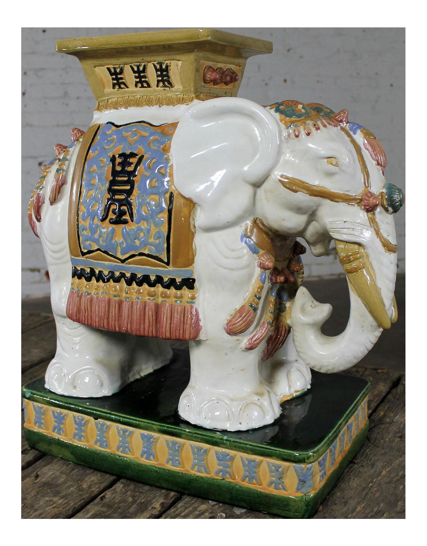 Great Vintage Ceramic Elephant Garden Stools #12 - Elephant Garden Stool Side End Table Stand Vintage Made In Vietnam