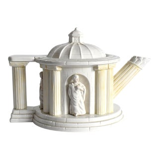 Fitz and Floyd Neoclassical Architecture White Teapot With Greek Statues For Sale