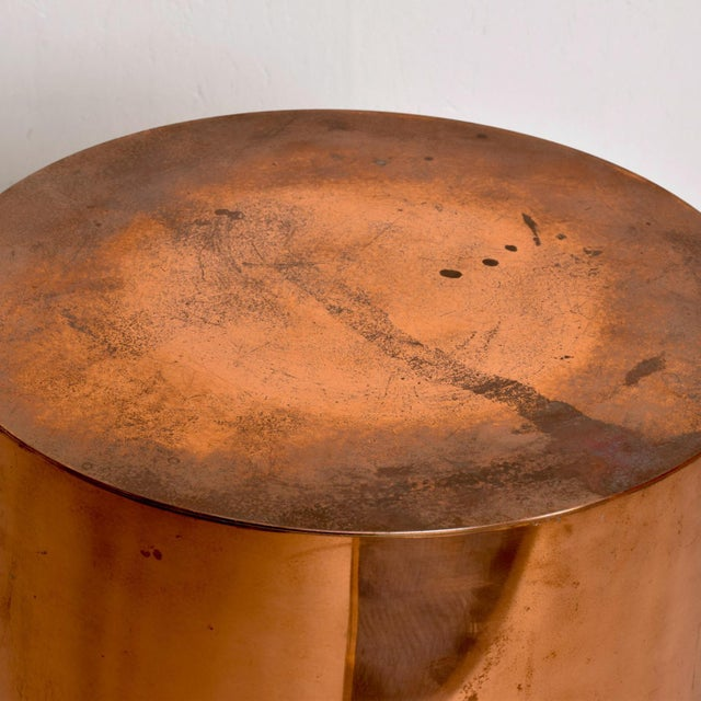 1970s Mid Century Modern Cylinder Drum Side Table For Sale In San Diego - Image 6 of 8