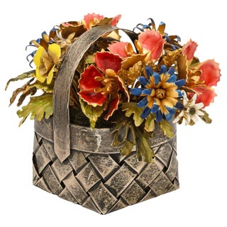 Cartier, a Sterling Silver and Enamel Table Ornament Basket For Sale