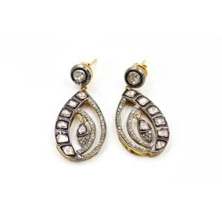 Rose Cut Diamond Dangling Sterling Silver Earrings Preview