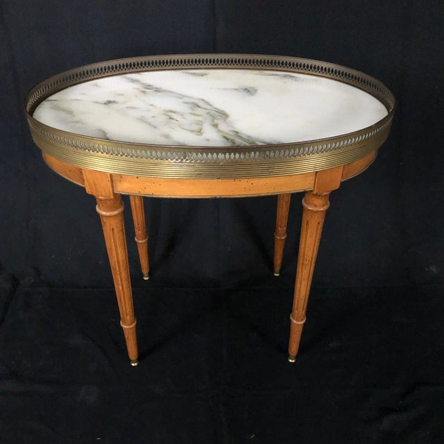 French French Louis XVI Style Oval Oak Marble Topped Side Table For Sale - Image 3 of 8