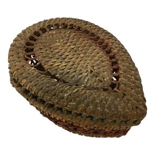 1930s Boho Chic Lidded Teardrop Shaped Basket For Sale
