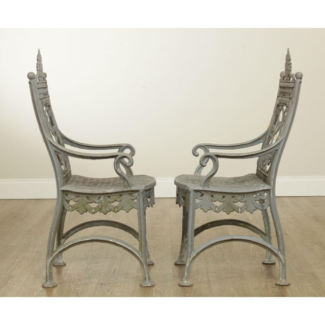 Antique Cast Iron Pair of Garden Cemetery Armchairs, Fred Gensel & Co. For Sale In Philadelphia - Image 6 of 13