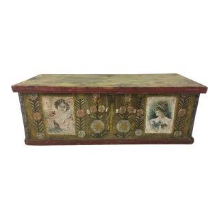 Antique Folk Art Trunk For Sale