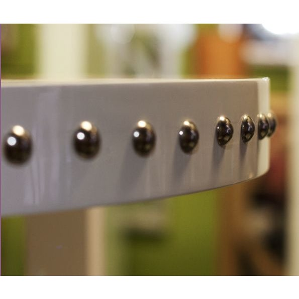 White Lacquer Studded Side Table - Image 2 of 3