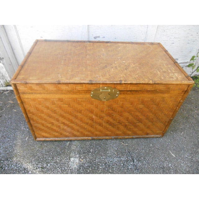 Country Extra Large Bamboo & Herringbone Woven Wicker Trunk or Coffee Table For Sale - Image 3 of 4