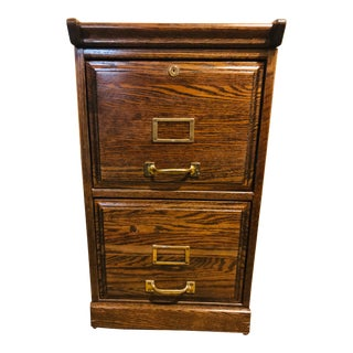 Oak Raised Side & Brass Detail 2-Drawer File Cabinet For Sale