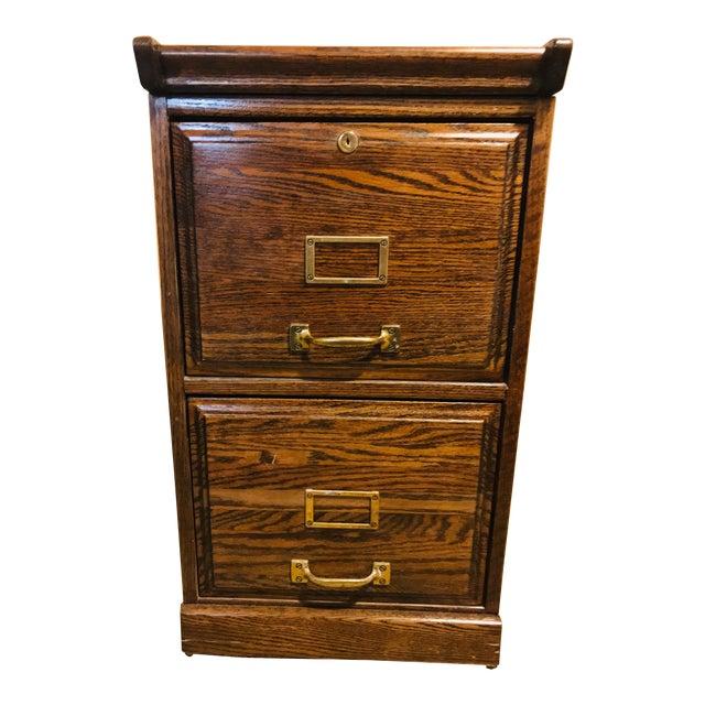 Oak Raised Side & Brass Detail 2-Drawer File Cabinet For Sale