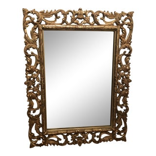 Gold Finished Baroque Style Framed Mirror For Sale