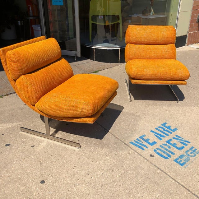 1970s Steel Framed Scoop Lounge Chairs by Kipp Stewart for Directional - a Pair For Sale - Image 10 of 10