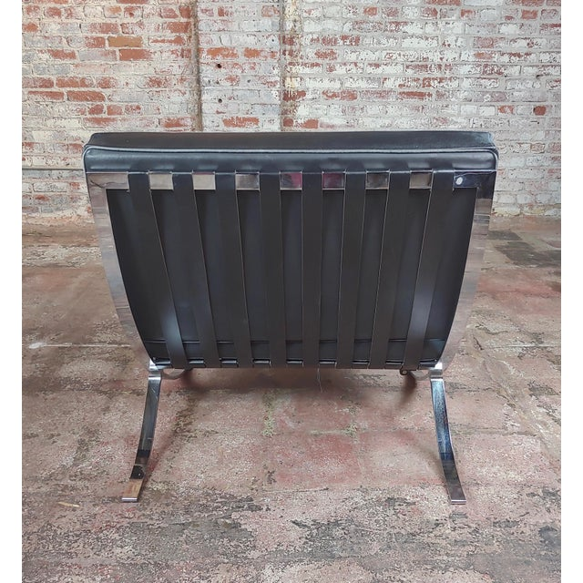 Black Barcelona Chairs -Beautiful Vintage Black Leather Seats -A Pair For Sale - Image 8 of 11