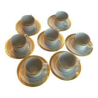 Vintage Royal Tettau Porcelain Espresso Cups & Saucers - Service for 7 For Sale