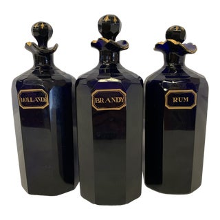 Bristol Blue Glass Decanters Ex Mallets Stock For Sale