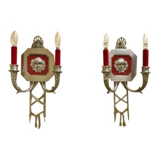 Maison Charles French Empire Style Pair of Silvered Bronze Minerva Mask Two Light Sconces - For Sale