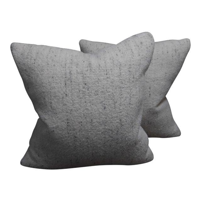 Rosemary Hallgarten Wool Fabric Alpaca Boucle Throw Pillows - a Pair For Sale