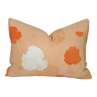 Apricot Floral Silk Kimono Pillow Cover For Sale