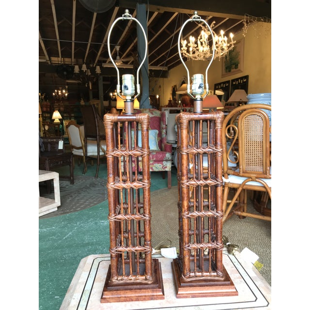 Island Style Coastal Regency Rattan Lamps-A Pair For Sale - Image 9 of 9