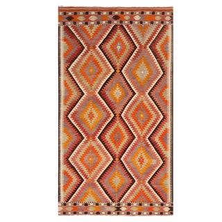 Vintage Mid-Century Antalya Diamond Yellow Multicolor Wool Kilim Rug- 4′11″ × 8′10″ For Sale