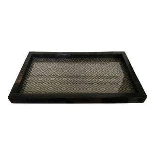 Bone Inlay Tray With Fabric Under Glass
