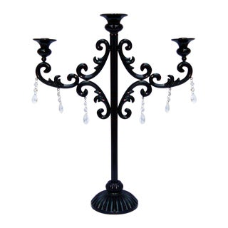 Large Gothic Deco Black Metal Crystal Candelabra For Sale