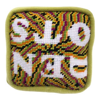 1960s Influenced Psychedelic Needlepoint Objet d'Art Pillow For Sale