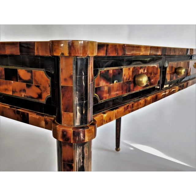 Maitland Smith Tesselated Horn and Brass Writing Partner Desk - Image 10 of 11