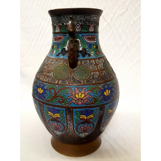 Early 20th Century Japanese Enamel-Over-Bronze Champleve Vase With Peacock Head Handles Antique For Sale - Image 5 of 7