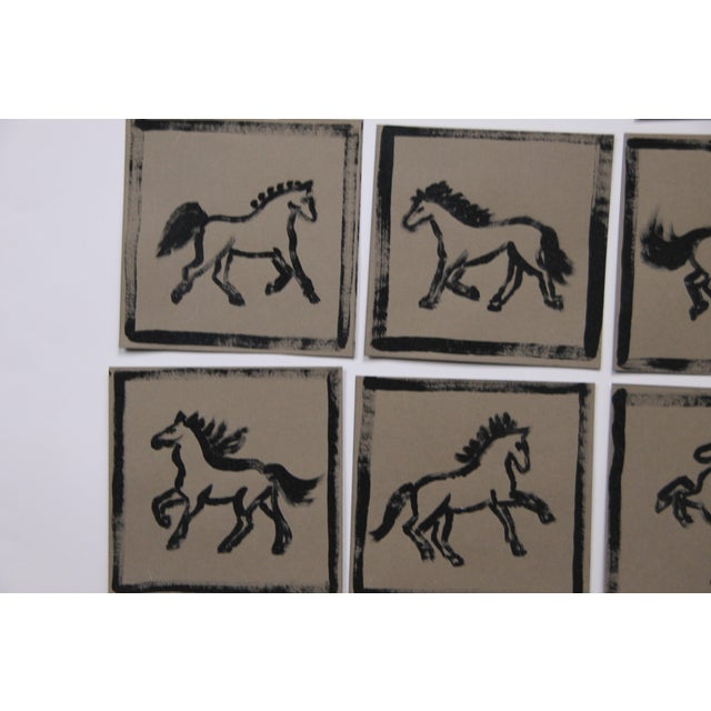 Minimalist Set of 9 Horse Paintings by Cleo Plowden For Sale In New York - Image 6 of 8