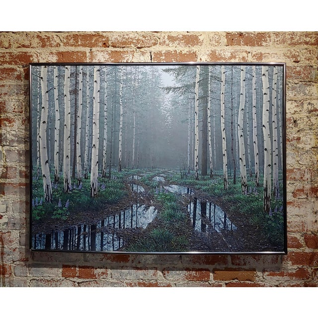 Jack Braman -Inside a Misty Forest of Aspens -Realism-Oil Painting For Sale - Image 12 of 12