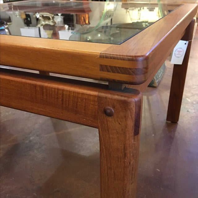 Mid-Century Teak & Smoked Glass Top Coffee Table - Image 4 of 7
