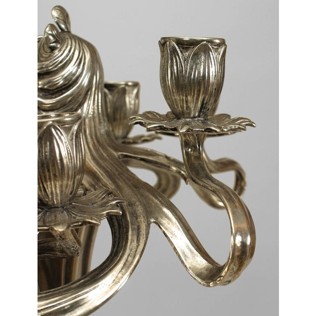 Silver Art Nouveau Silvered Pewter Candelabra- A Pair For Sale - Image 8 of 11