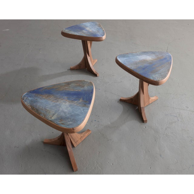 """Pierre Yovanovitch """"Lewis"""" Stool With Handmade Walnut Frame and Handmade Ceramic Detail For Sale - Image 4 of 6"""