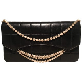 Chanel Black Leather Square Quilted Pearl Chain Classic Flap Shoulder Bag For Sale