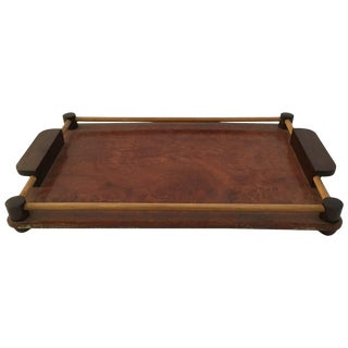 Art Deco Rosewood and Walnut Burl Serving Tray For Sale