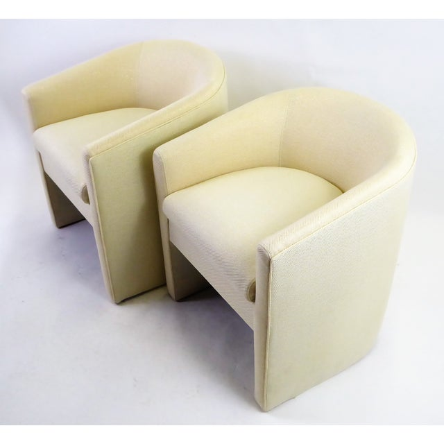 Pair of Barrel Back Tub Chairs in White and Gold Weave Fabric, 1960s For Sale - Image 13 of 13