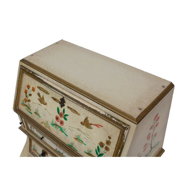 Asian Cream Crackle Glaze Handpainted Chinoiserie Secretary For Sale - Image 3 of 8