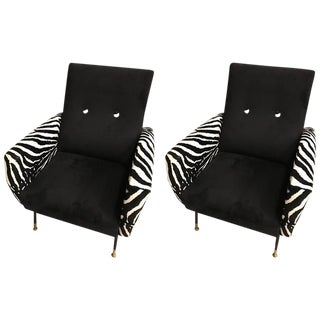 Mid-Century Metal Club Chairs With Faux Zebra Print - a Pair For Sale