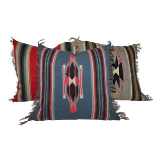 Amazing Mexican or American Indian Serape Square Pillows For Sale